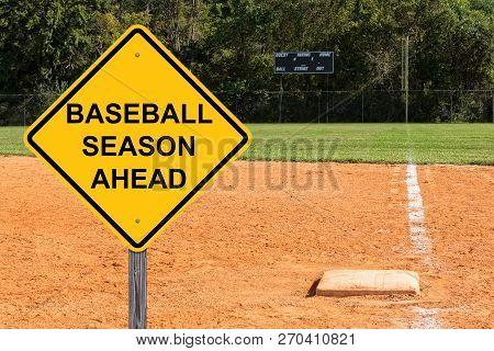 Baseball Season Ahead Caution Sign With Scoreboard Background