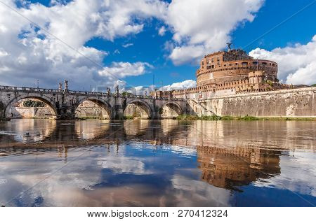 View Of Hadrian Mausoleum, Castel Sant Angelo In Rome, Italy.