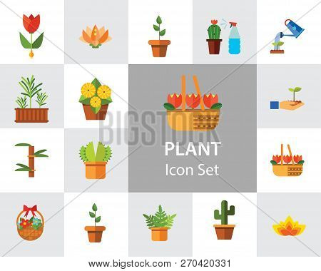 Plant Icon Set. Basket With Flowers Wheat Ears Watering Plant In Flowerpot Flowers In Pot Tulips In
