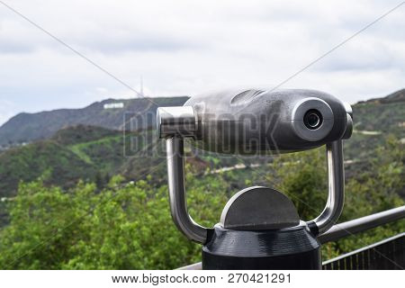 Griffith Park, Los Angeles - Monocular Telescope And View On The Hollywood Signboard
