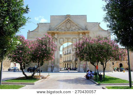 Lecce, Italy - August 28, 2018: Naples Gate (porta Napoli) The Entrance To The Old Town Of Lecce, It