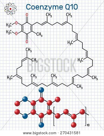 Coenzyme Q10 (ubiquinone, ubidecarenone, coenzyme Q, CoQ10) molecule. It is cofactor  with antioxidant properties. Structural chemical formula and molecule model. Sheet of paper in a cage. Vector illustration poster