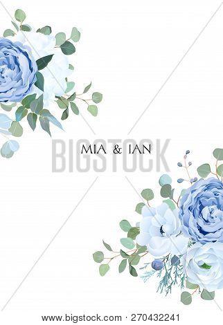 Dusty Blue Rose, White Hydrangea, Ranunculus, Anemone, Eucalyptus, Juniper Vector Design Frame. Wedd