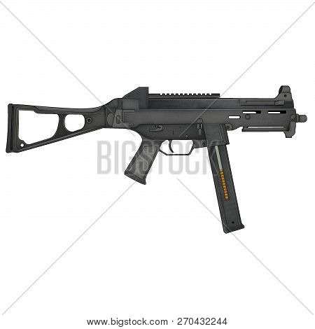 design UMP machine pistol SMG 001 weapon png poster