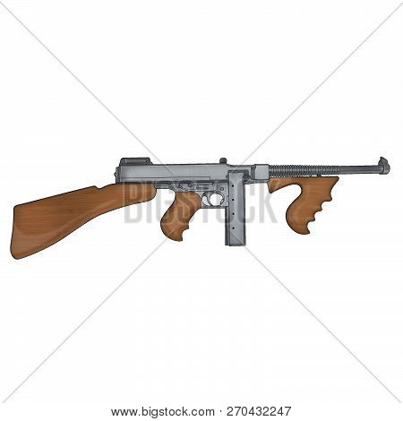 thompson m1921 submachine gun classic weapon png poster