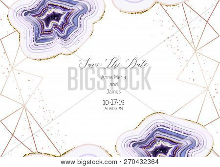 Amethyst Crystal Geode Purple Horizontal Vector Frame.stylish Ultraviolet Texture Card.gold Border.s