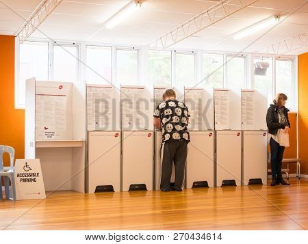 Melbourne, Australia - November 19, 2017: Voters Participating In The 2018 Victorian State Election