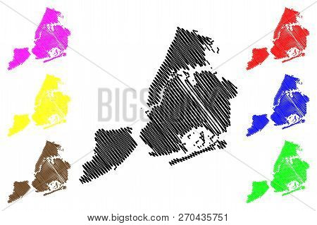 New York City ( United States Cities, United States Of America, Usa City, Nyc Or Ny) Map Vector Illu