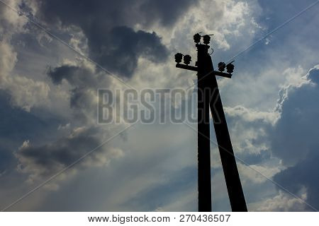 Electric Pole Without Electric Wires Electric Pole Without Electric Wires, Standing Alone On The Bac