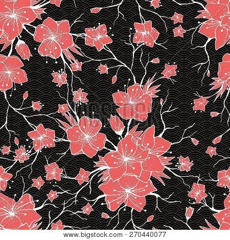 Sakura Branches Seamless Pattern. Japanese Cherry Abstract Texture. Apple Tree Twigs With Flowers An