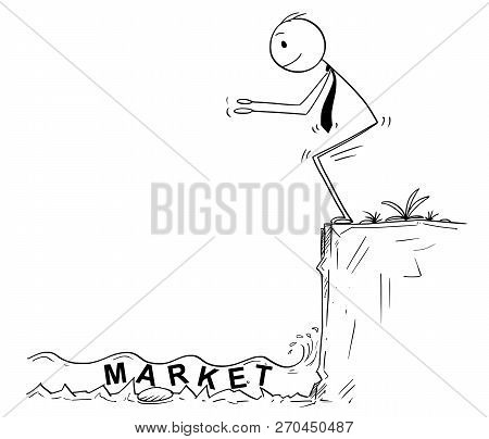 Cartoon Stick Man Drawing Conceptual Illustration Of Businessman Ready To Jump In Unknown Shallow Wa