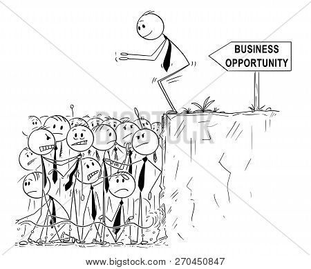 Cartoon Stick Man Drawing Conceptual Illustration Of Businessman Looking For Business Opportunity Is