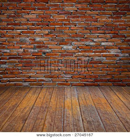 brick wall and wood floor