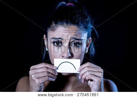 Portrait Of Desperate Overwhelmed Depressed Woman With Sad Unhappy Face