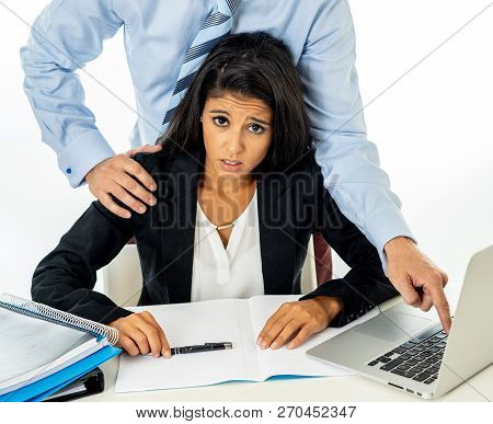 Sexual Harassment At Work. Disgusted Employee Being Molested By Her Boss
