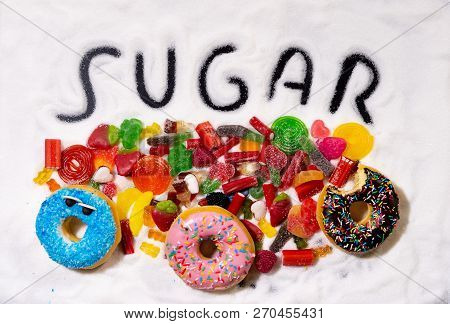 Close Up Of Of Sweet Multicolor Candies In Unhealthy Food Containing Lots Of Sugar