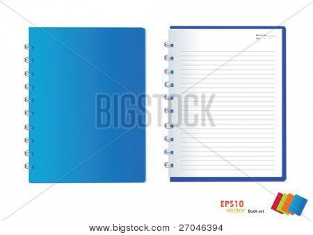 Photo of blue notebook (blank paper). Vector illustration.