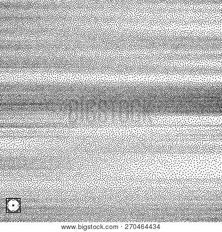 Wavy Background. Black And White Grainy Dotwork Design. Pointillism Pattern. Stippled Vector Illustr