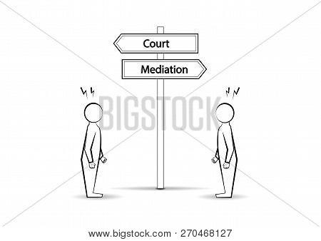 Two Angree Men And  Waymark Court Mediation Isolated On White Background, Horizontal Vector Illustra