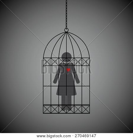 Woman With Red Heart In A Cage On Dark Background Vector Illustration Eps10
