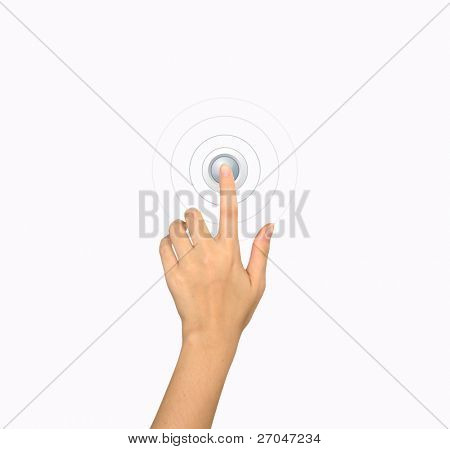 Hand pressing a button with index finger extended, isolated on a white background.