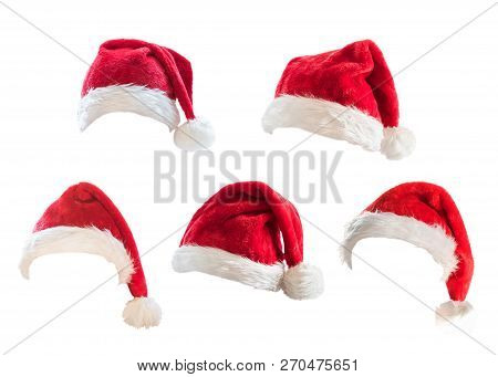 Santa Claus Helper Red Hat Costume Set Isolated On White Background With Clipping Path For Christmas