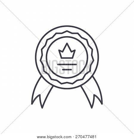 Achievement Line Icon Concept. Achievement Vector Linear Illustration, Symbol, Sign