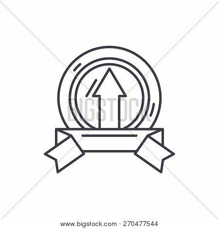 Achieving Success Line Icon Concept. Achieving Success Vector Linear Illustration, Symbol, Sign
