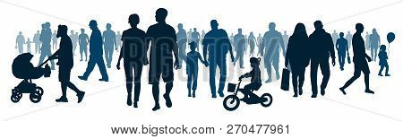 National Public Audience. Crowd Of People Walking People Are Going. Mob Go, Meeting Event. Moving Bi