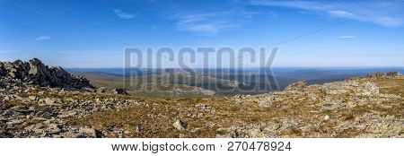 Mountains And Stone Outcrops Of The Northern Urals. Spectacular Mountain Landscape. Outdoor Activiti