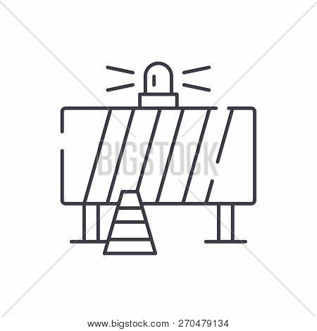 Attention Construction Work Line Icon Concept. Attention Construction Work Vector Linear Illustratio