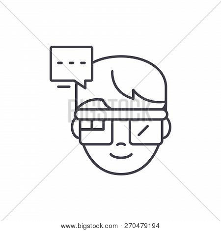 Augmented Reality Vision Glasses Line Icon Concept. Augmented Reality Vision Glasses Vector Linear I