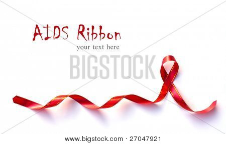Red Support Ribbon on white background with copy space