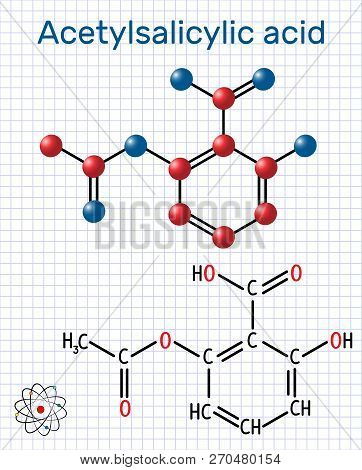 Acetylsalicylic acid (aspirin, ASA) molecule. Structural chemical formula and molecule model. Sheet of paper in a cage. Vector illustration poster
