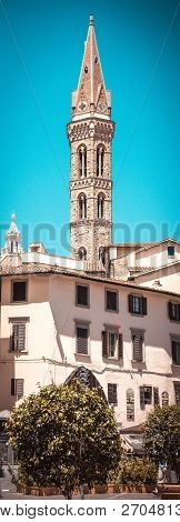 High Narrown Tower In Florence City In Italy