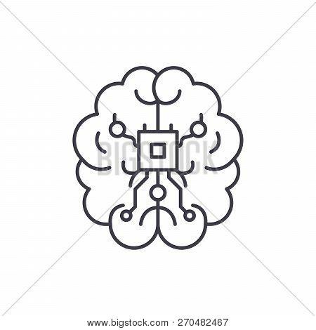 Brain Chipset Line Icon Concept. Brain Chipset Vector Linear Illustration, Symbol, Sign