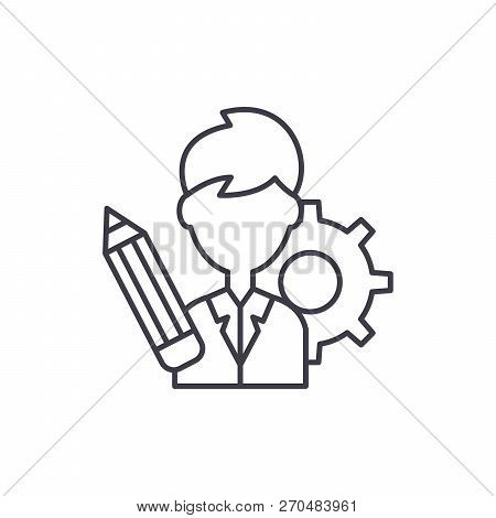 Business Consultant Line Icon Concept. Business Consultant Vector Linear Illustration, Symbol, Sign