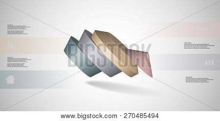 3D Illustration Infographic Template With Round Pentagon Divided To Four Parts
