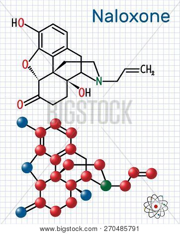 Naloxone Molecule. It Is Used To Block The Effects Of Opioids, Especially In Overdose. Structural Ch