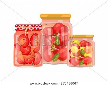 Vegetables Granny Preparation Or Conservation Poster. Vector Pickled Peppers With Peppercorn, Canned