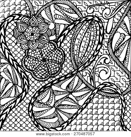 Zentangle Hand Drawn Monochrome Background, Stock Vector Illustration For Web, For Print, For Colori