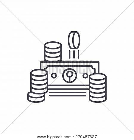 Cash Line Icon Concept. Cash Vector Linear Illustration, Symbol, Sign