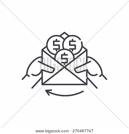 Cash Payments Line Icon Concept. Cash Payments Vector Linear Illustration, Symbol, Sign
