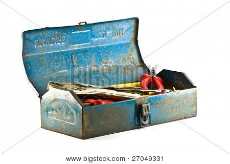 A set of tools in old  blue toolbox - isolated on white background.