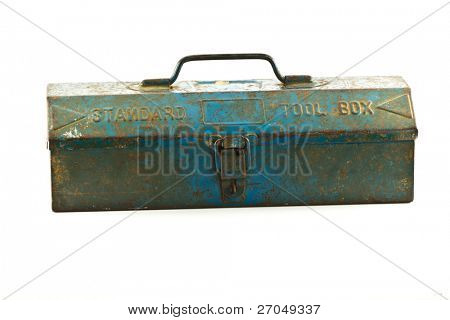 Old Blue toolbox - isolated on white background.