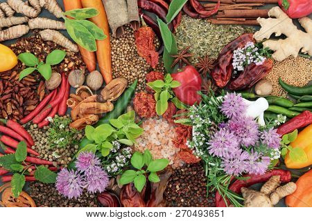 Spice and herb food seasoning collection with fresh and dried spices and herbs loose and in a mortar with pestle. Top view.
