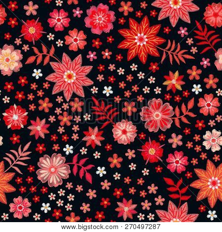Embroidery Seamless Pattern With Bright Red Flowers On Black Background. Vibrant Fancywork. Fashion