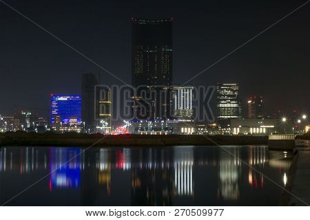 Abu Dhabi City Mariah Towers And Skyline At Night From Al Reem - Abu Dhabi, Uae - November 24, 2018