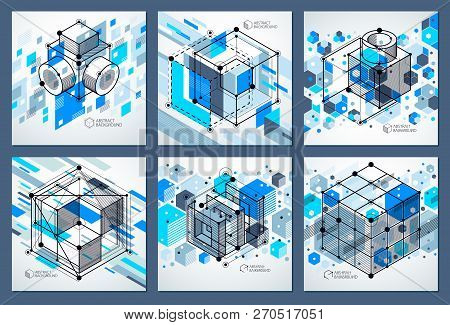 Engineering Technology Vector Blue Backdrops Set Made With 3d Cubes And Lines. Engineering Technolog