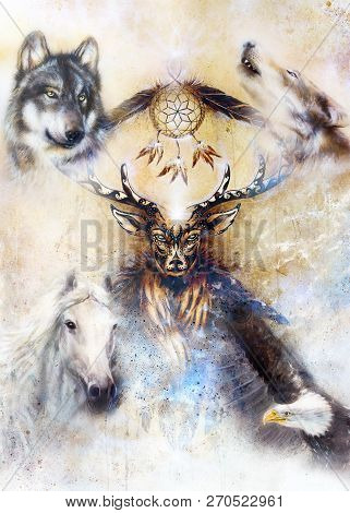 Sacred Ornamental Deer Spirit With Dream Catcher Symbol And Feathers And Wolf, Horse, Eagle In Cosmi